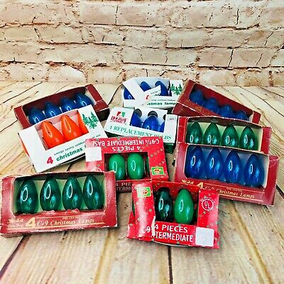Vintage Holiday Time Outdoor Christmas Lights Holiday Decor Festive Blue Green