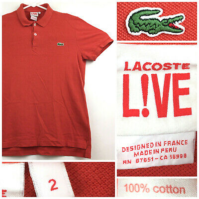 Lacoste Live Mens Size 2 (37 in Chest) Brick Red Croc Cotton S/S Polo Shirt