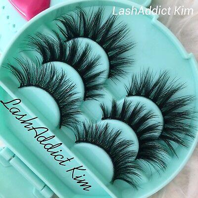 Set 3 Lashes MINK Lashes Fur Siberian + Eyelashes Case 💕 Makeup Case US (Eyelash Set)