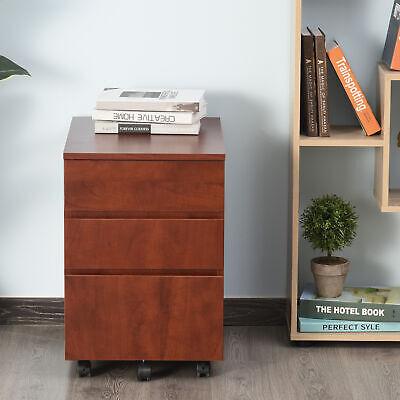 Homcom 3 Drawer Filing Cabinet Home Office Mobile File Organizer With 5 Castors