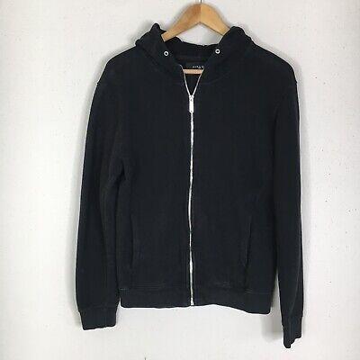 Zara Man Mens Size Large Black Textured Knit Hooded Zip Front Jacket Slim Fit