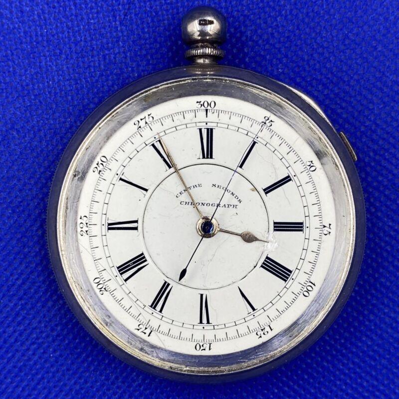 Centre Seconds Chronograph   Sterling Silver Case   Antique 1800's Pocket Watch