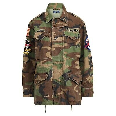 Polo Ralph Lauren Unisex Military USA Flag Skull Camo Field Jacket All Size NWT