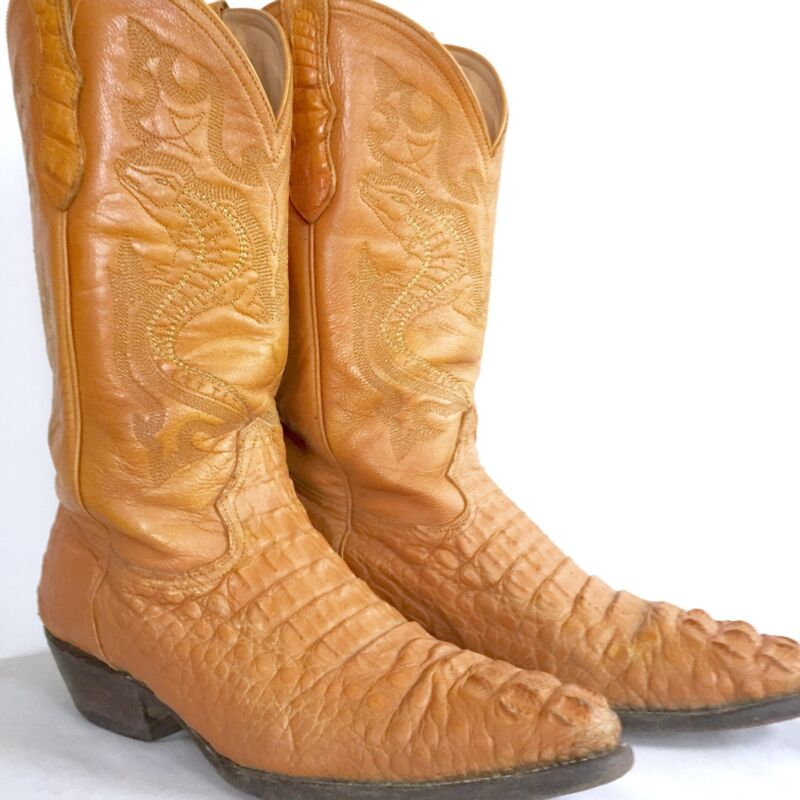 Vintage, Alligator, Leather, Western, Mens, Cowboy, Boots, , Caymen, Dos, de, Oro, Sz, 8