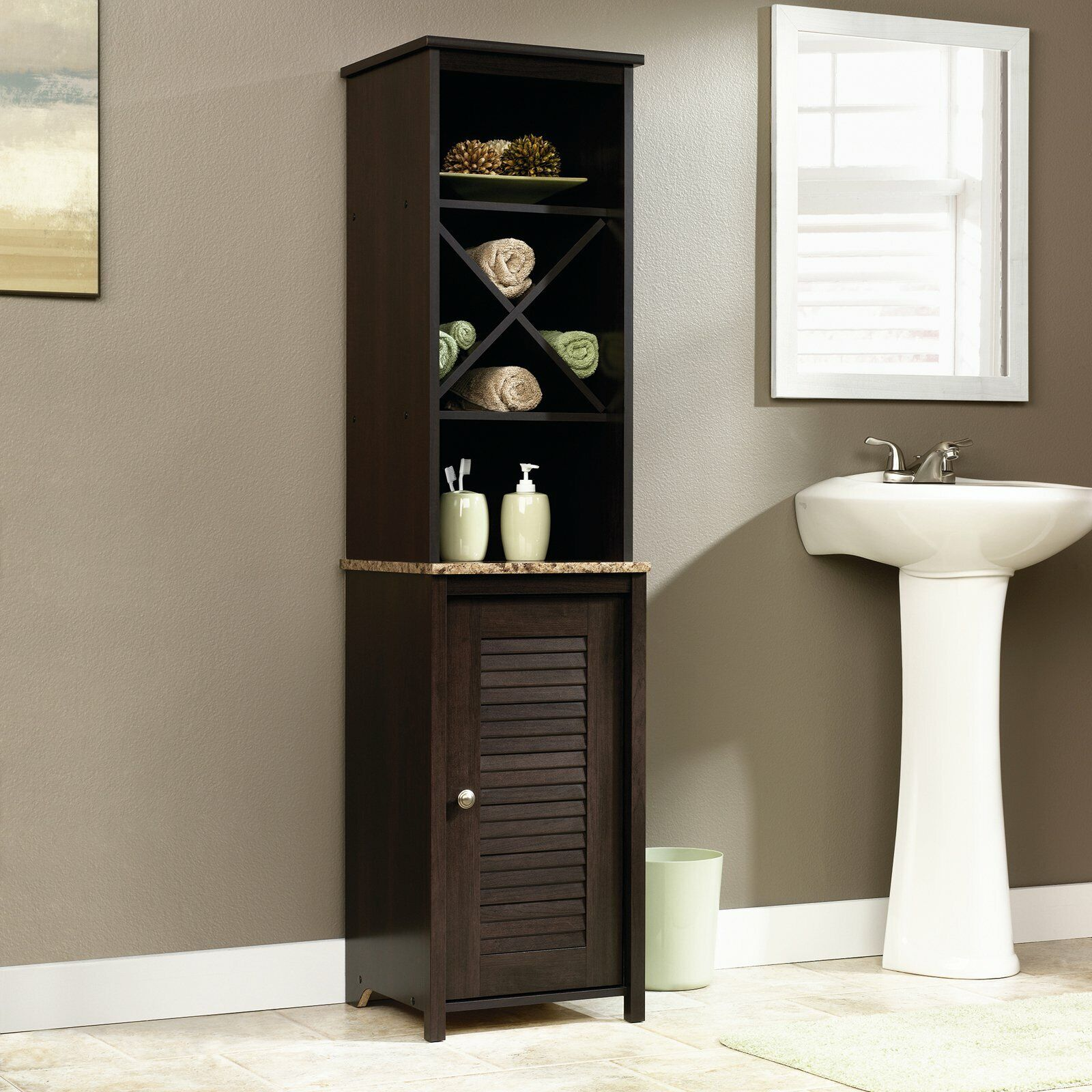 cherry finish linen tower bathroom towel storage cabinet tall dark wooden narrow | ebay