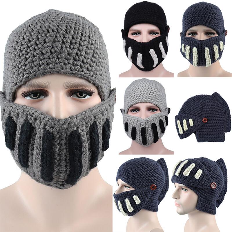 Unisex Beanie Cap Face Mask Crochet Knit Roman Knight Helmet