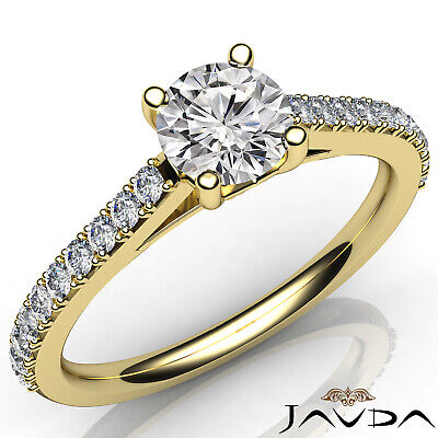 French V Pave Round Diamond Engagement Cathedral Ring GIA Certified F VS1 1.02Ct 5
