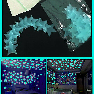 100Pcs 3D Home Wall Ceiling Glow In The Dark Stars Stickers Decal Baby Kids Bed