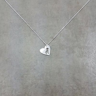 Heart Pit Bull Dog Silver Plated Necklace Gift Box Canine Breed Pet Love -