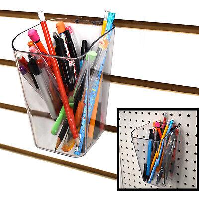 Slatwall Acrylic Pen Cup Bucket Bin 4 L X 6 H X 4 D - Clear