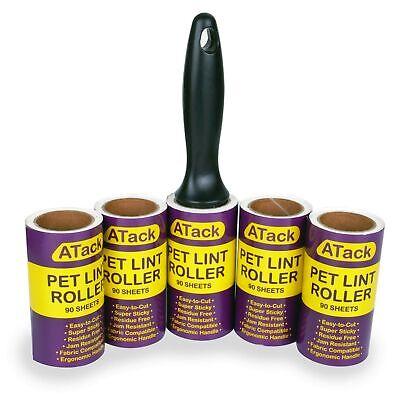 ATack Pet Lint Roller; 1 Roller + 5 Refill Rolls (90 Sheets Each)