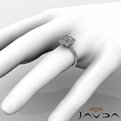 Halo Micro Pave Set Eternity Princess Cut Diamond Engagement Ring GIA G SI1 2Ct 3