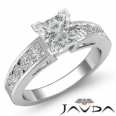 Classic 4 Prong Channel Set Princess Diamond Engagement Ring GIA G VS2 1.75 Ct