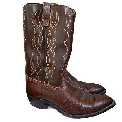 Acme Mens Brown Embroidered Cowboy Boots Shoes Size 10.5D