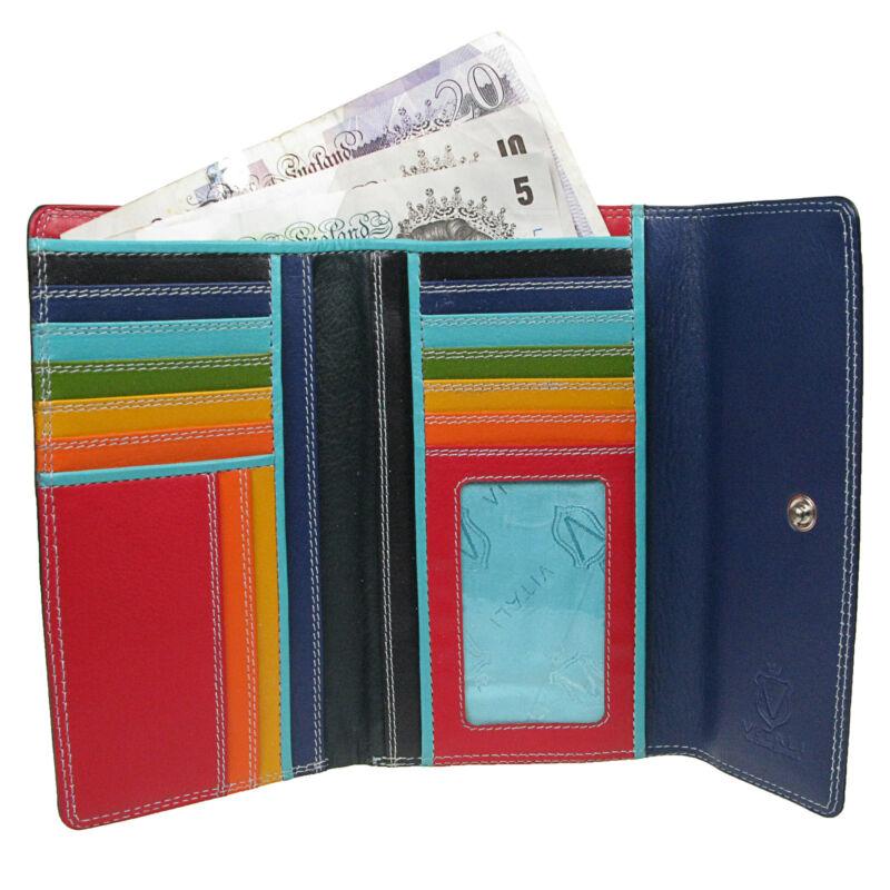 Womens Large Luxury Leather Purse Wallet Black Mixed Colour Quality Vitali NE55