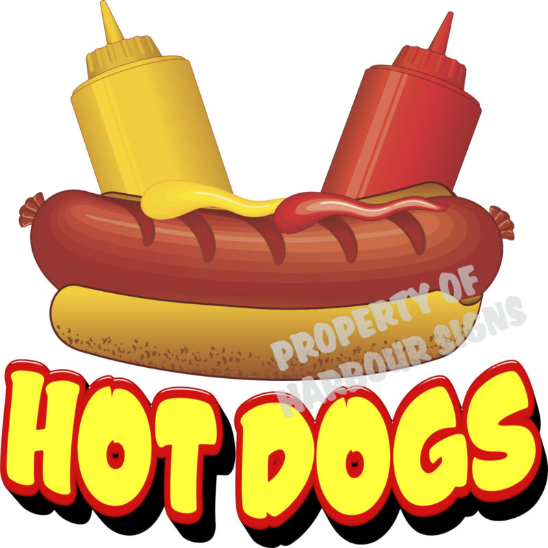 "Hot Dogs Decal 14"" Hotdogs Restaurant Cart Concession Trailer Food Truck Sticker"