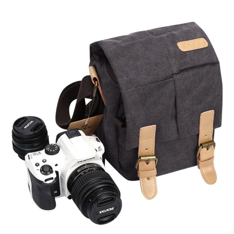 Canvas Waterproof DSLR SLR Vintage Camera Shoulder Messenger Bag Sling Backpack