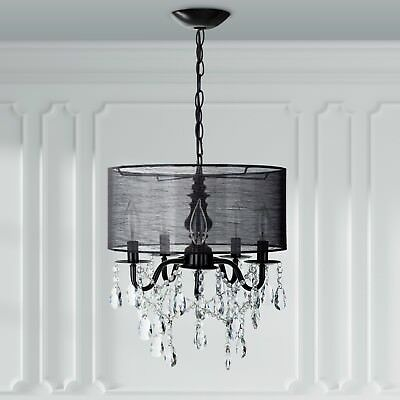 5-Light Black Crystal Chandelier with Drum Shade, Plug In Lighting Fixture Lamp ()