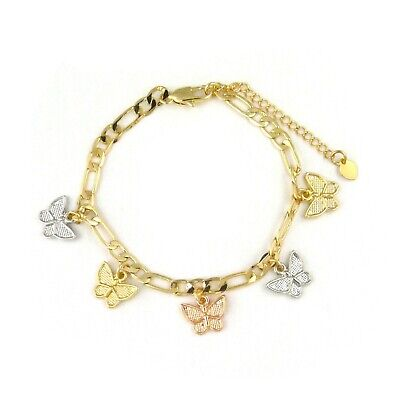 """14k Gold Plated 3-Tone Butterfly Dangling Charms Bracelet 8.5"""""""
