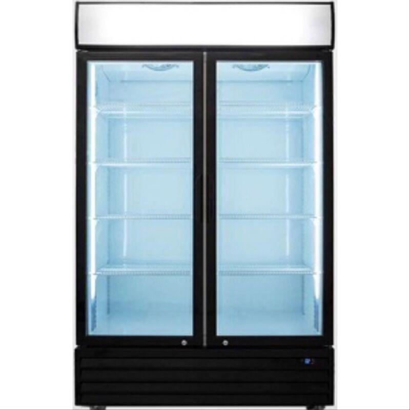 2 glass door refrigerator Double Door Beverage Cooler Drink NEW