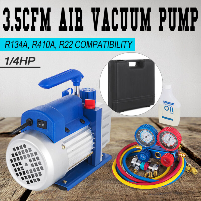3.5 CFM 1/4HP Air Vacuum Pump HVAC Refrigeration AC Manifold Gauge R22 R134a Kit