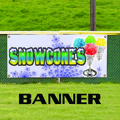 Snow Cones Food Fair Cart Carnival Retail Shop Advertising Vinyl Banner Sign
