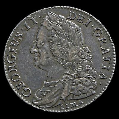 1745 George II Early Milled Silver Lima Half Crown – GVF