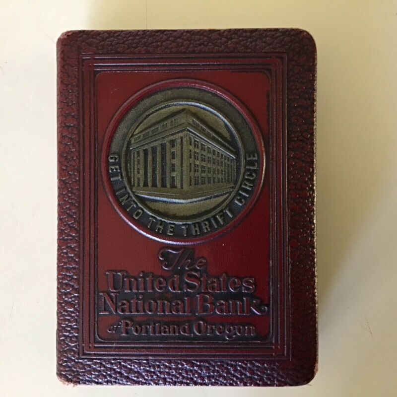 Vintage 1923 Bankers Utilities Leather Bound Book Coin Bank ~ Portland, Oregon