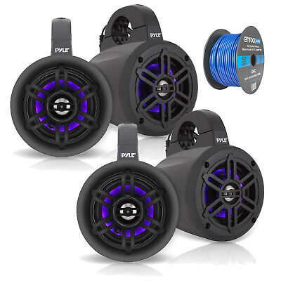 "Used, 4"" Marine Wakeboard LED Tower Speakers - Black - 2 Pairs, Tinned Speaker Wire for sale  Newburgh"