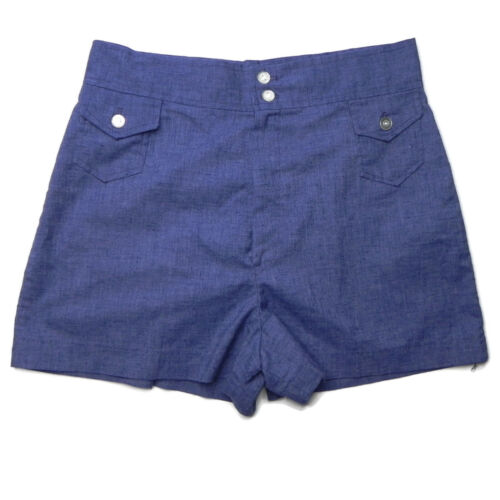 Vintage Classic 70s Womens 12 Blue High Waist Shorts Booty Hot Pants Pin-Up