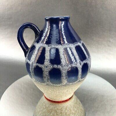 """West Germany Mid Century Modern Pottery 6"""" Pitcher Vase Blue Fat Lava Vintage"""