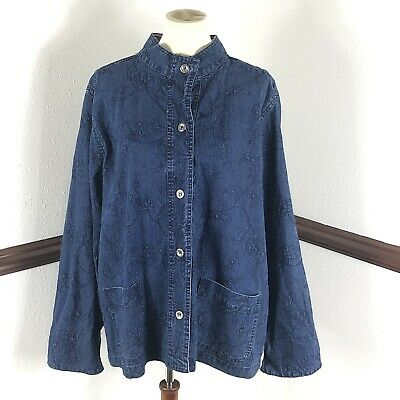 Alfred Dunner Womans Denim Jacket Size 16W Blue floral Embroidery Has Pockets