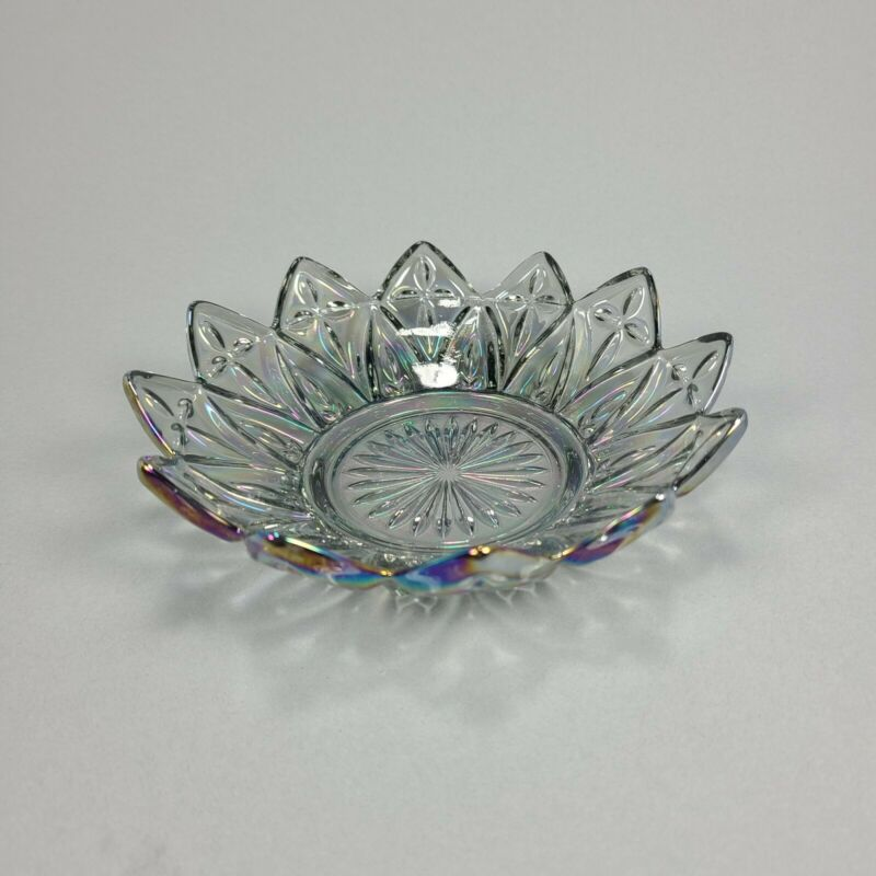 Vintage Federal Glass Clear Iridescent Carnival Petal Bowl