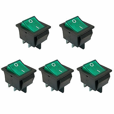 5 Pcs 4 Pin Dpst Onoff Mini Boat Car Rocker Switch Button Green Led Us Stock