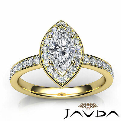 Cathedral Halo Pave Set Marquise Shape Diamond Engagement Ring GIA F VVS2 0.95Ct 9