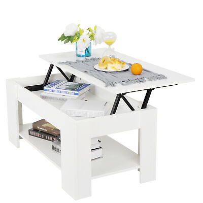 Coffee Table For Living Room Large Lift Up Hard  Storage Shelf  Furniture White