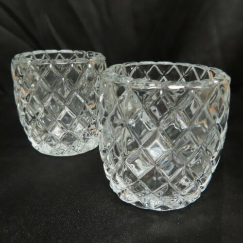 Vintage Dimond Pattern HOMCO Crystal Glass Pair Of Votive Candle Holders USA