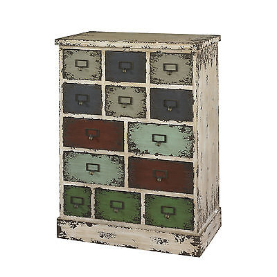 Industrial Rustic Wood Metal Distressed 13 Drawer Storage Cabinet Small Chest