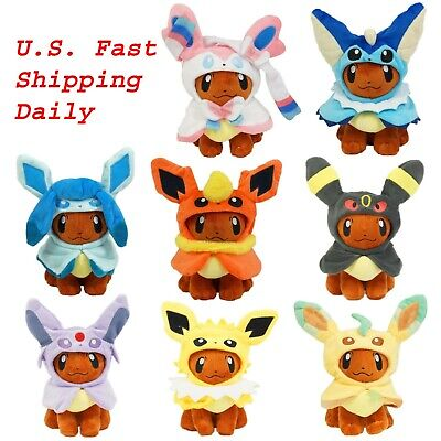 "Pokemon 8"" Eevee Poncho Cosplay Cape Plush Toy Stuffed Animal Doll US Stock"