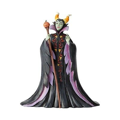 New JIM SHORE DISNEY Figurine MALEFICENT HALLOWEEN Statue PUMPKIN STAFF VILLAIN - Maleficent Halloween