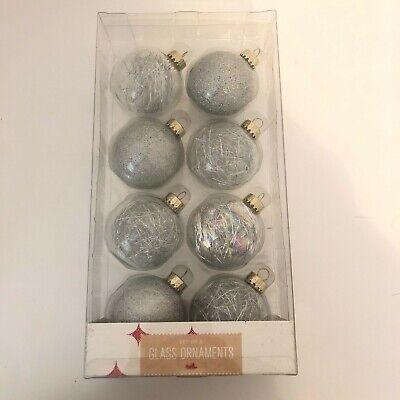 Set of 8 Iridescent Clear Silver Glitter Tinsel Glass Christmas Ornaments Bulbs  Iridescent Bulb Christmas Ornament