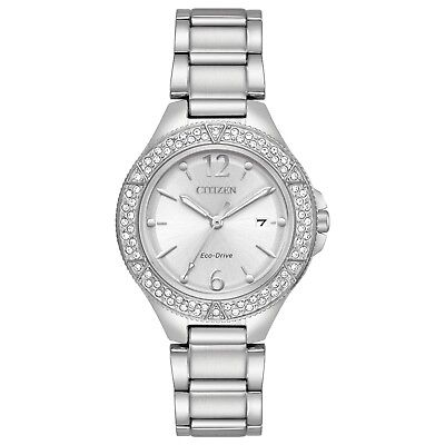 Citizen Eco-Drive Women's Crystal Accents Silver-Tone 31mm Watch FE1160-54A