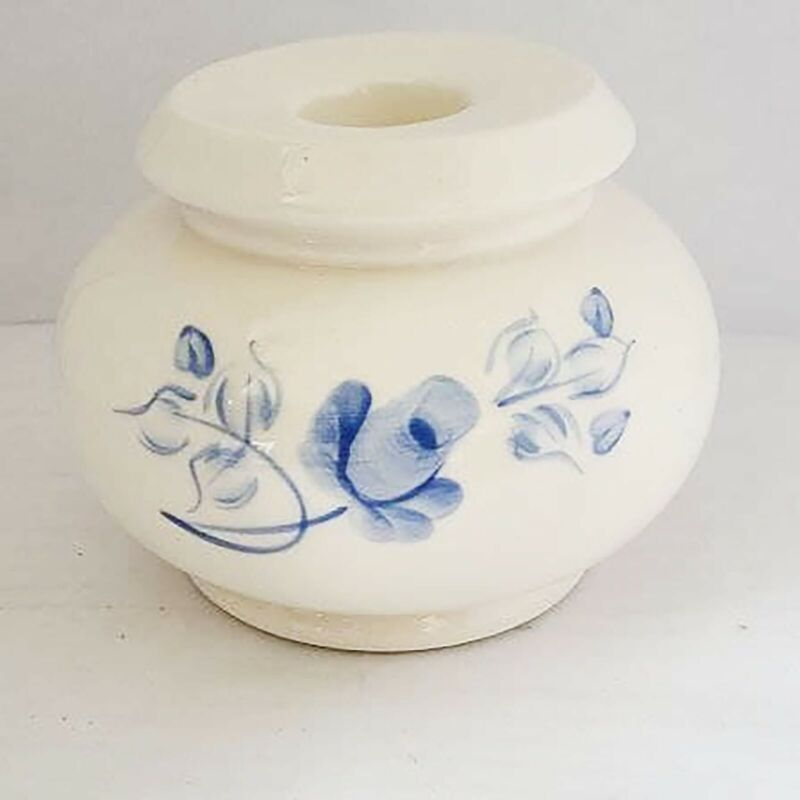 Homco Lasting Products Porcelain Blue Rose Floral Butterflies Candle Holders