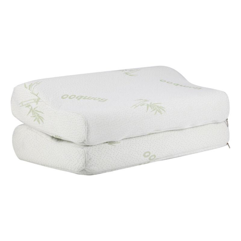 2 X Anti Bacterial Bamboo Memory Pillow Orthopedic Firm