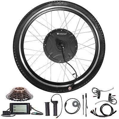 "1500W Electric Bicycle Conversion Kit 26""Rear Wheel Twist Throttle LCD Meter 48V"