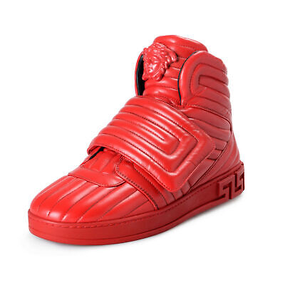 Versace Men's Red Quilted Leather Hi Top Sneakers Shoes sz 7 8 9 12
