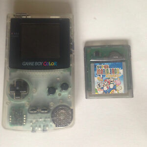 GameBoy Color Clear + Super Mario Bros Deluxe
