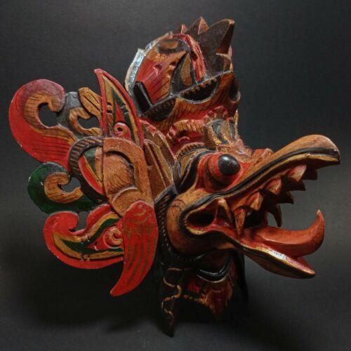 Balinese Garuda Bird Bali Brown Mask Hindu Wood Carved Painting Wall Hanging