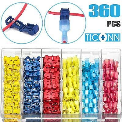 TICONN 360pcs T-Tap Wire Connectors, Self-Stripping Quick Splice Kit