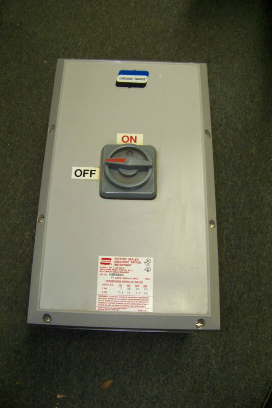 new crouse hinds n2rs603 enclosed disconnect switch 60 a 600 vac